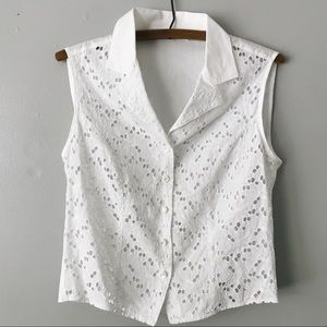 Anne Fontaine Paris White Eyelet Sleeveless Top